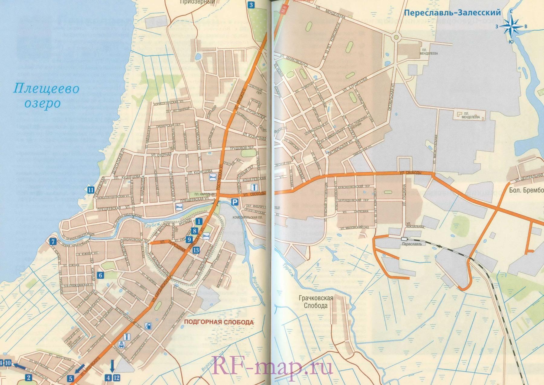 Карта схема Переславля Залесского.  Схема транзитного проезда через Переславль Залесский.