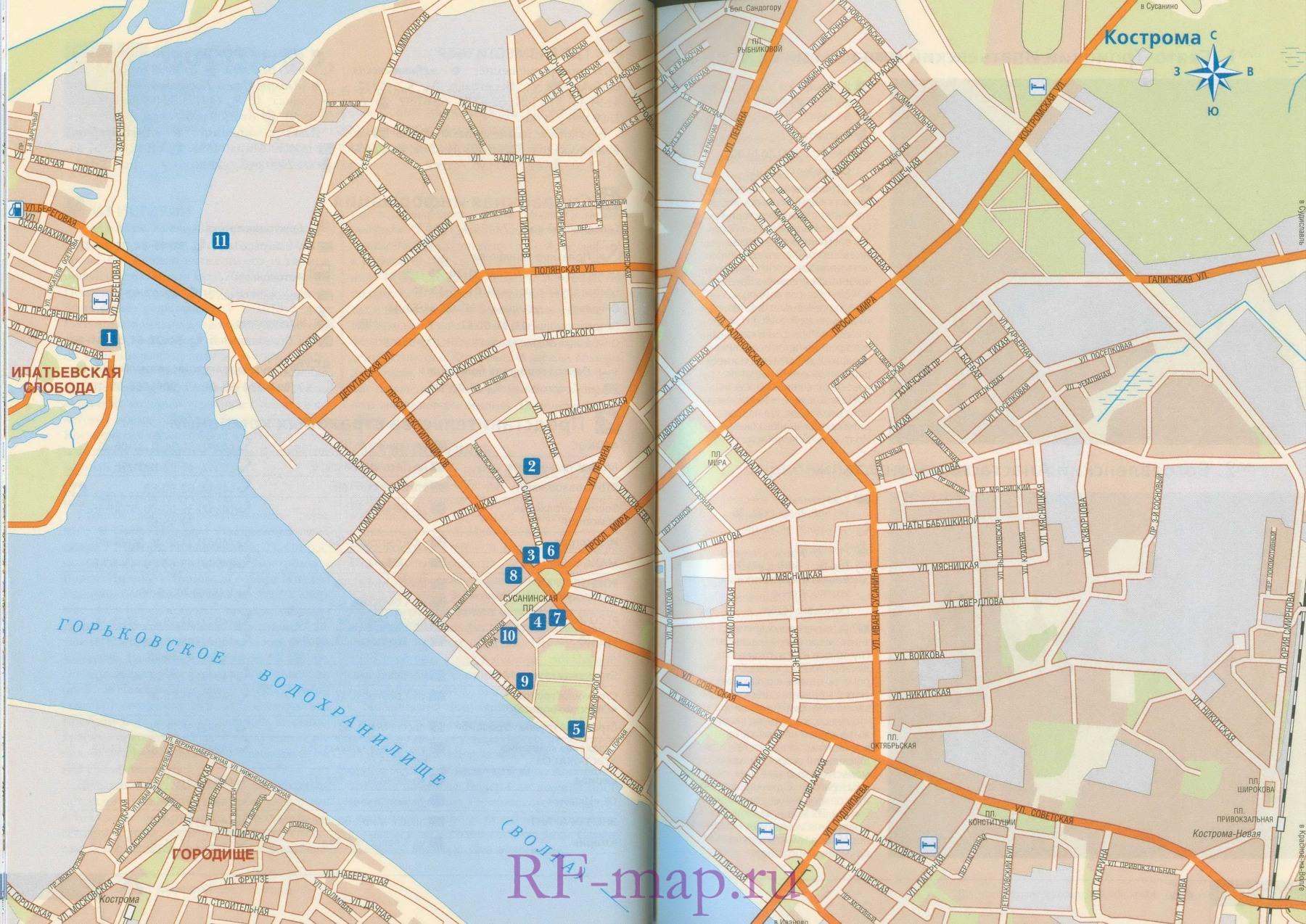 Автомобильная карта схема Костромы.  Подробная схема г.Кострома с названиями улиц.