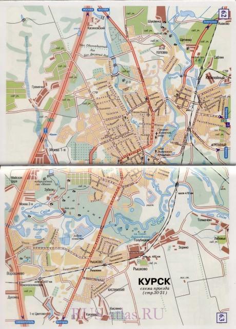 Детальная карта города Курск с названиями улиц и схемой транзитного проезда грузового транспорта.