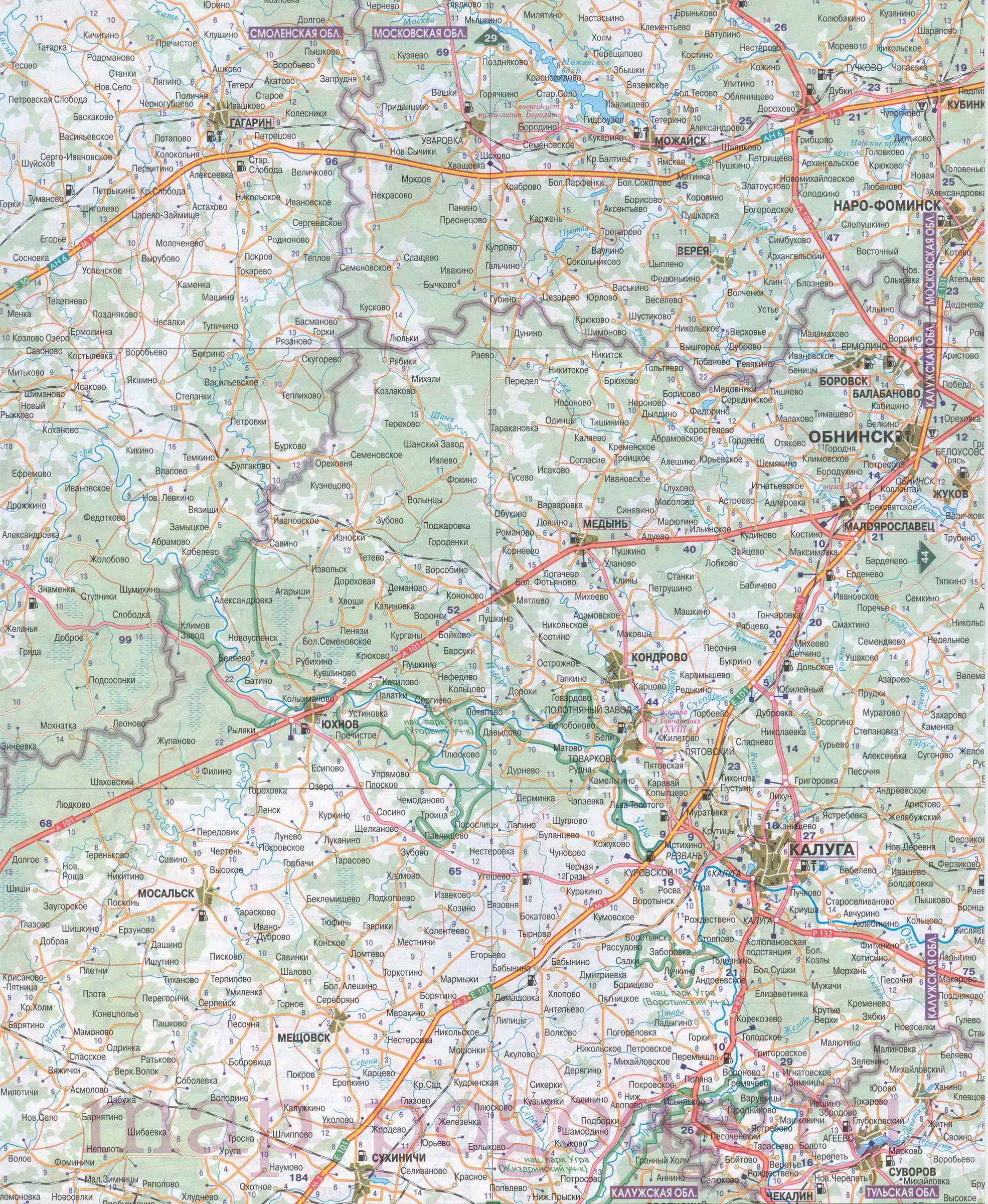 Карта московской области подробная