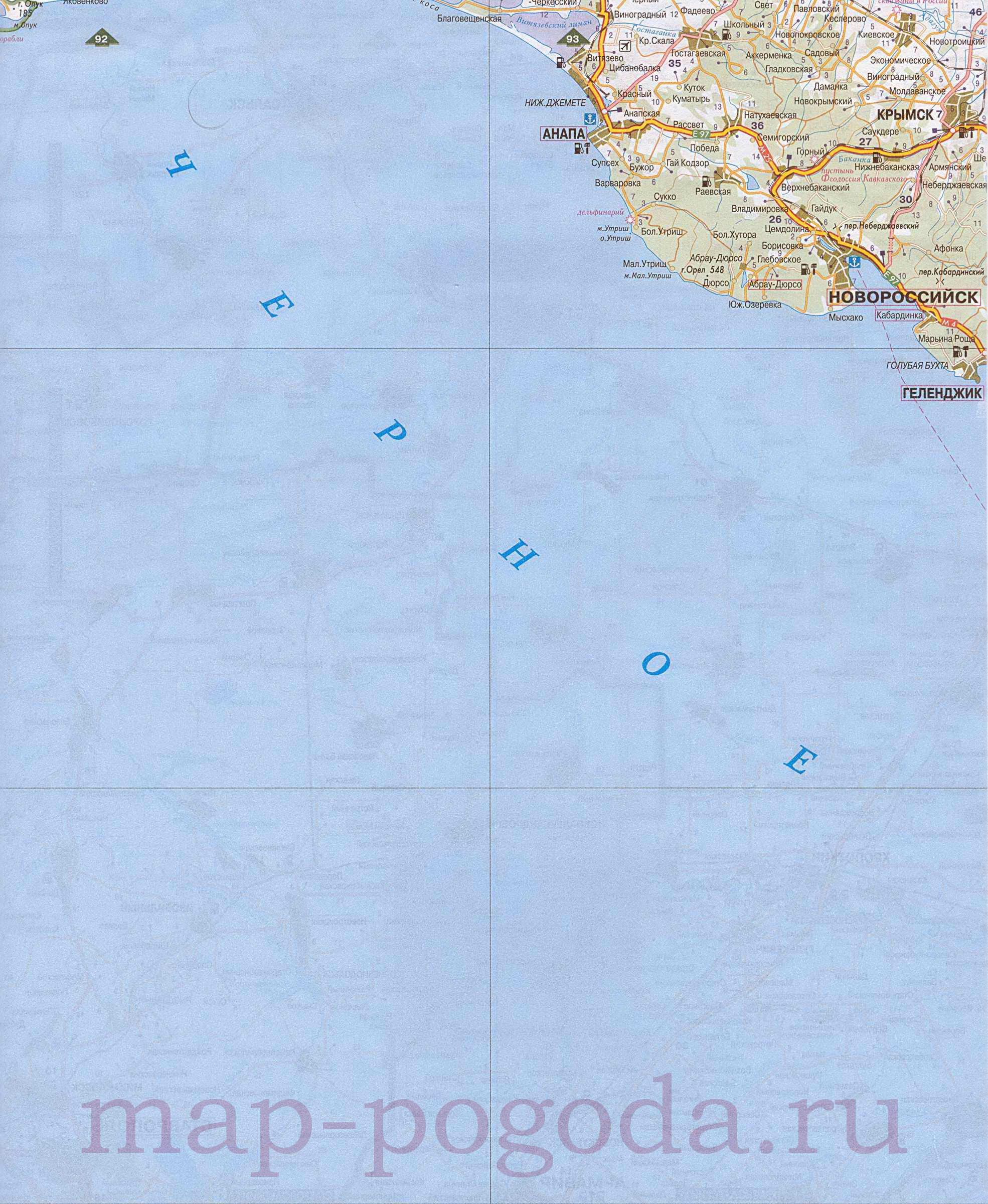 Подробная карта черноморского