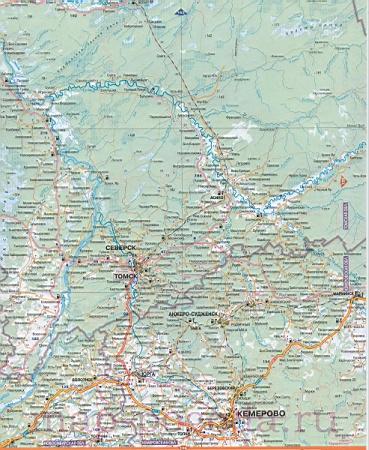 Карта дорог Томской области.