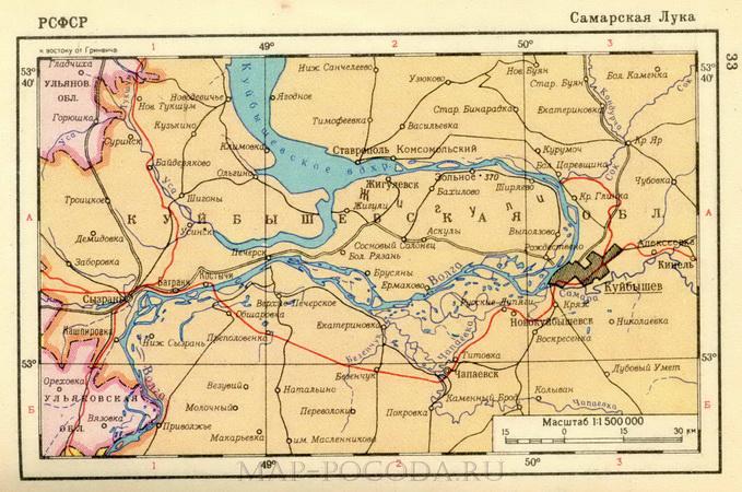 Карта Самарской Луки. Самарская Лука на карте Куйбышевской ...: http://rf-map.ru/679612.html