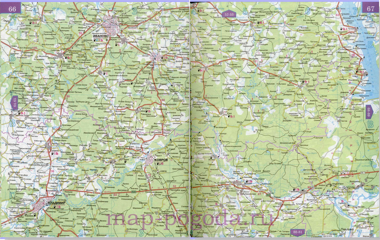 Подробная карта автодорог - Ивановская область, масштаб 1см 15км