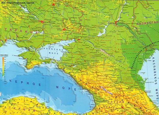 Карта юга россии физическая карта юга