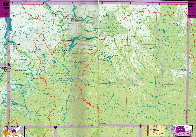 Карта Красноярского края от Норильска до Енисейска.  Красноярский край - карта масштаба 1см:30км.