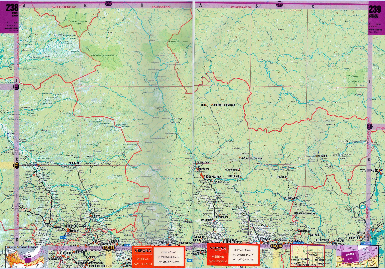 Карта Красноярского края от Норильска до Енисейска.