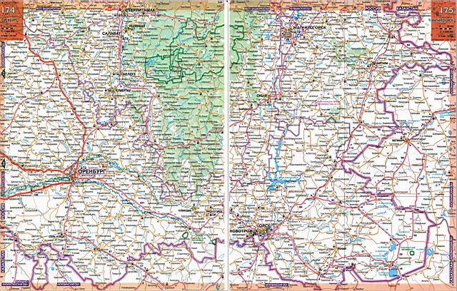 Карта автодорог - Оренбургская