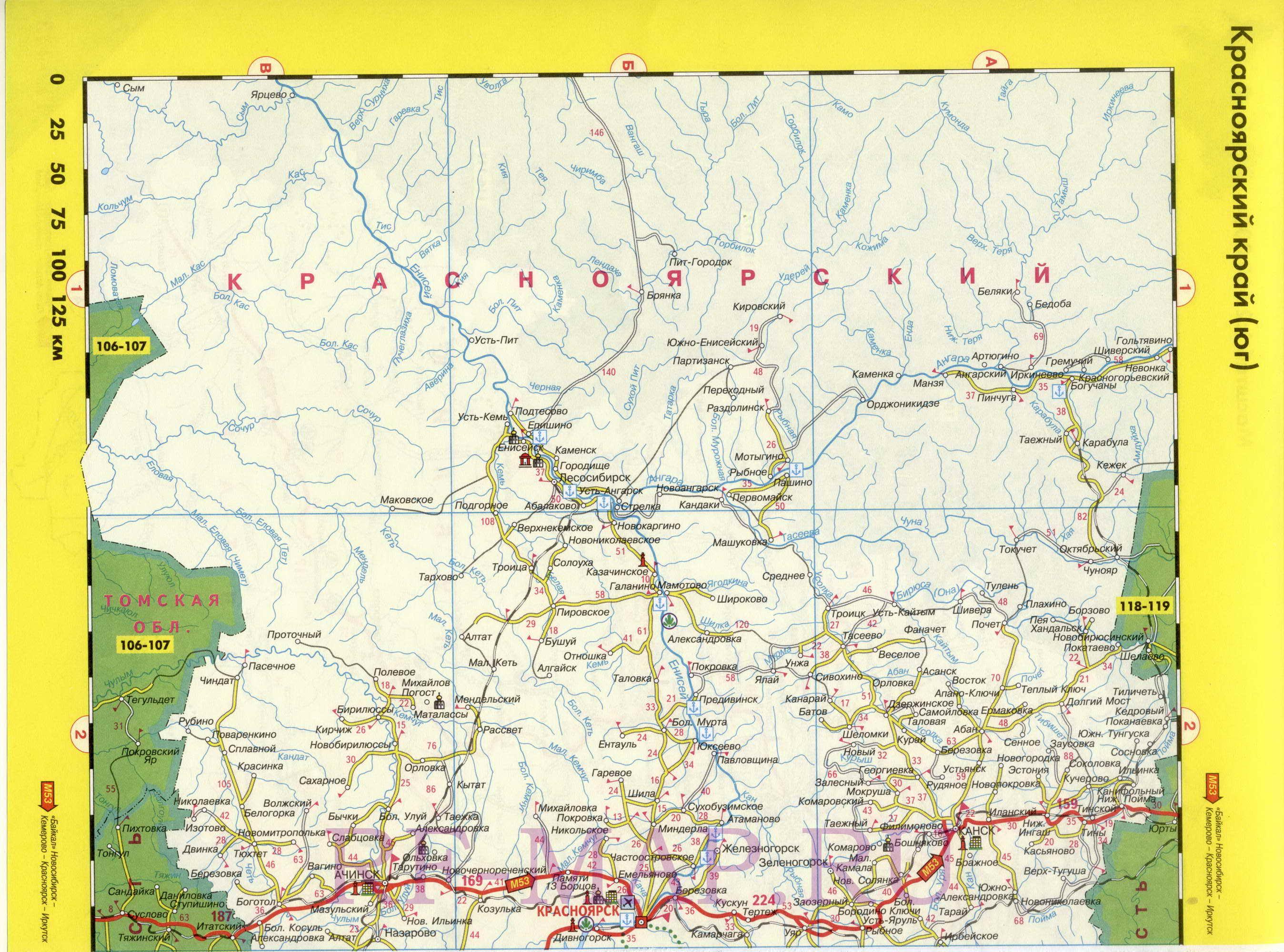 Регион на одной карте - Красноярский край.  Подробная высококачественная карта дорог Красноярского края с расстоянием...