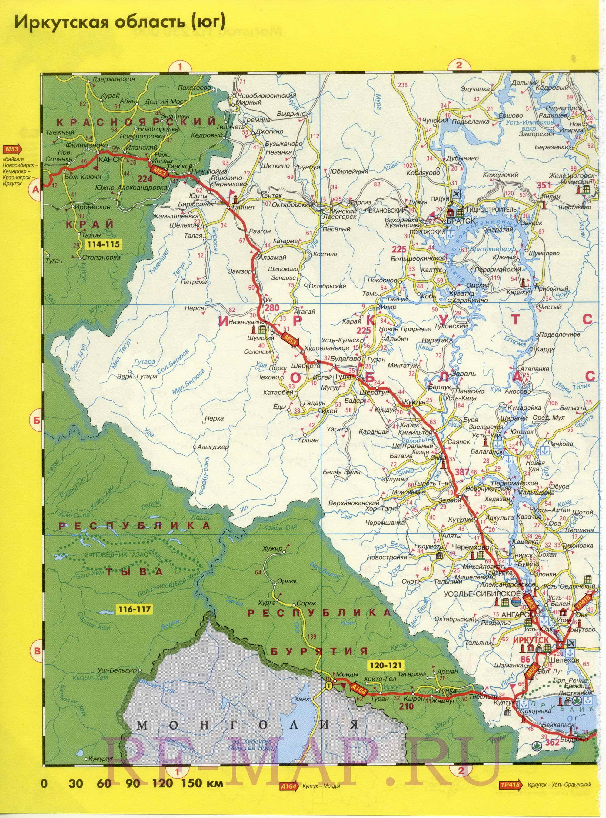 Схема автомобильных дорог Иркутской области.  Подробная схема автодорог Иркутская область.