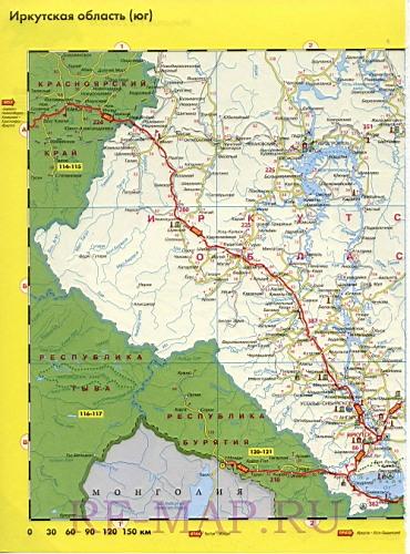схема автодорог Иркутская