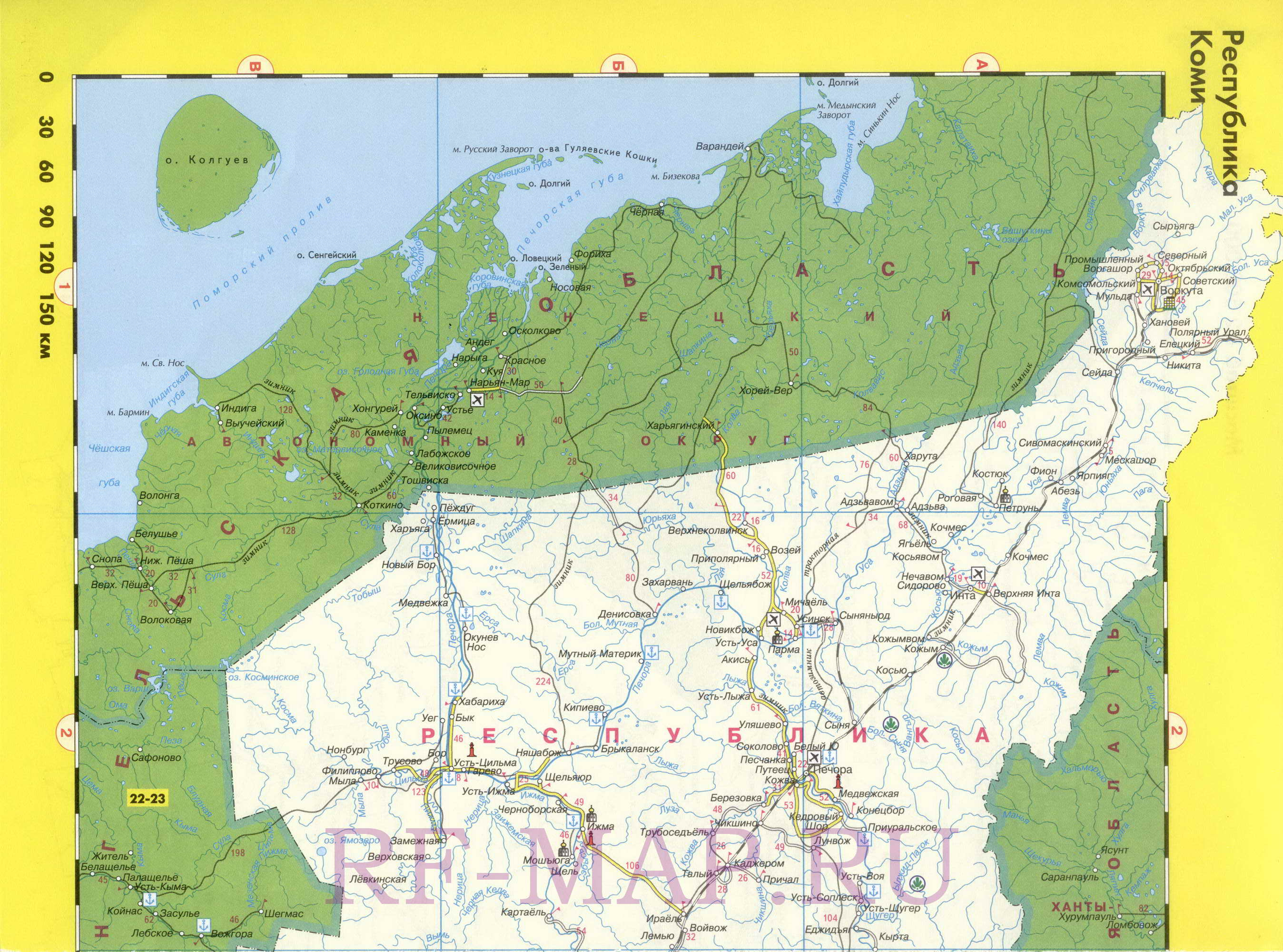 Регион на одной карте - республика Коми ...: http://rf-map.ru/map939497_0_0.htm