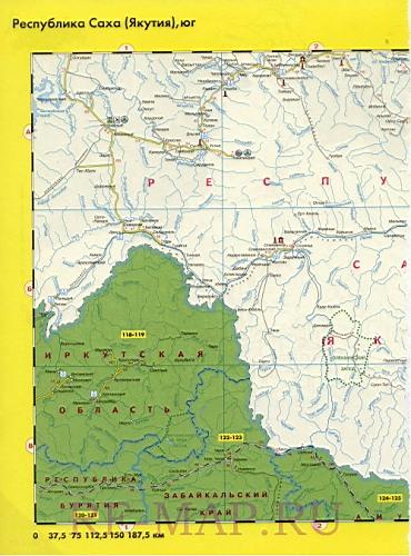 Карта дорог Якутии. Карта